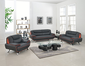 Global United Furniture 405 Leather Match 3PC Sofa Set in Black color.