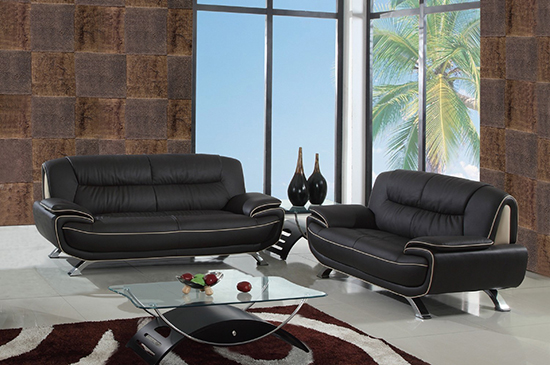 Global United Furniture 405 Leather Match 2PC Sofa Set in Brown color.