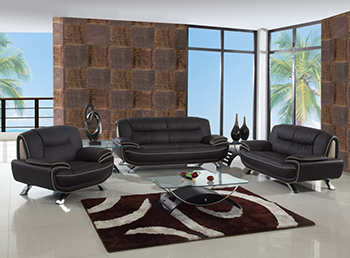Global United Furniture 405 Leather Match 3PC Sofa Set in Brown color.