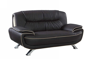 Global United 405 - Leather Match Loveseat in Brown color.