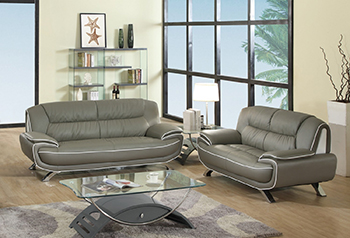 Global United Furniture 405 Leather Match 2PC Sofa Set in Gray color.