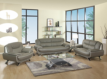 Global United Furniture 405 Leather Match 3PC Sofa Set in Gray color.