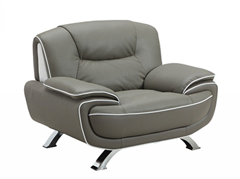 Global United 405 - Leather Match Chair in Gray color.