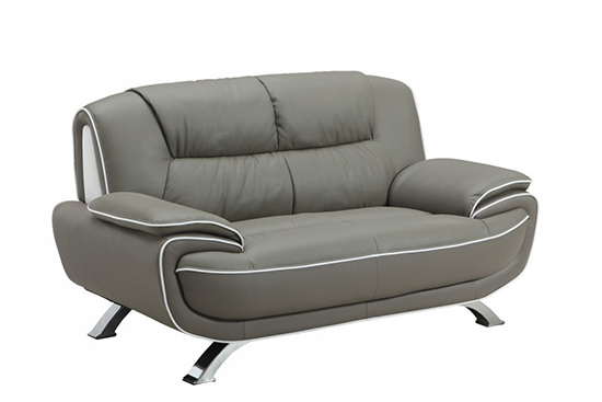 Global United 405 - Leather Match Loveseat in Gray color.