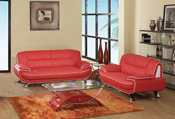 Global United Furniture 405 Leather Match 2PC Sofa Set in Red color.
