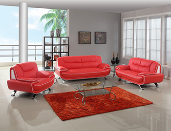 Global United Furniture 405 Leather Match 3PC Sofa Set in Red color.