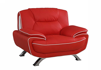 Global United 405 - Leather Match Chair in Red color.