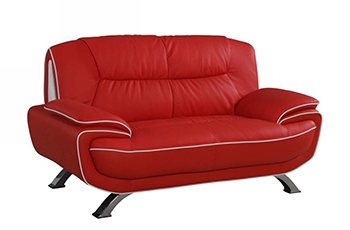 Global United 405 - Leather Match Loveseat in Red color.