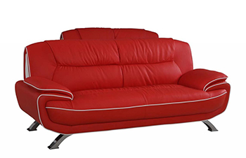Global United 405 - Leather Match Sofa in Red color.