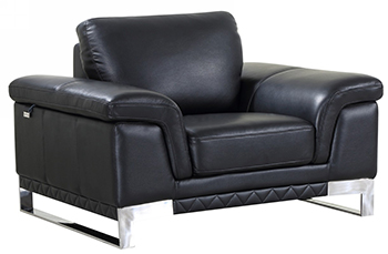 Global United 411 - Genuine Italian Leather Chair in Black color.