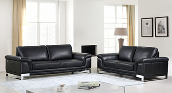 Global United Furniture 411 Genuine Italian Leather 2PC Sofa Set in Black color.