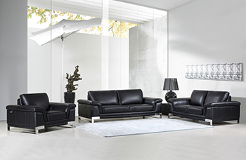 Global United Furniture 411 Genuine Italian Leather 3PC Sofa Set in Black color.