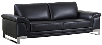 Global United 411 - Genuine Italian Leather Sofa in Black color.