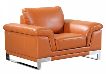 Global United 411 - Genuine Italian Leather Chair in Camel color.