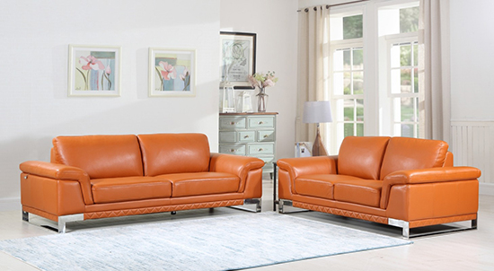 Global United Furniture 411 Genuine Italian Leather 2PC Sofa Set in Camel color.