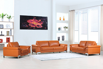 Global United Furniture 411 Genuine Italian Leather 3PC Sofa Set in Camel color.