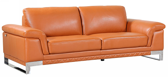 Global United 411 -  Genuine Italian Leather Sofa in Camel color.