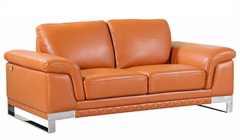 Global United 411 - Genuine Italian Leather Loveseat in Camel color.