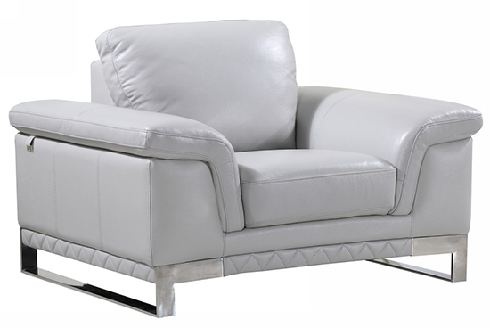 Global United 411 - Genuine Italian Leather Chair in Light Gray Color.