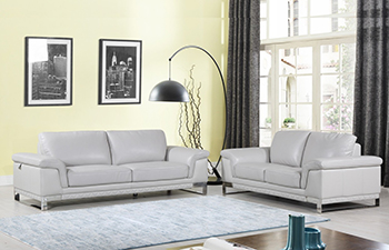 Global United Furniture 411 Genuine Italian Leather 2PC Sofa Set in Light Gray color.