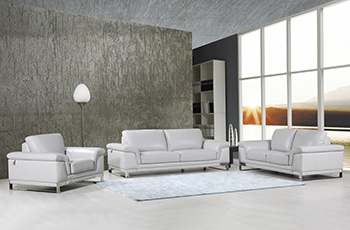 Global United Furniture 411 Genuine Italian Leather 3PC Sofa Set in Light Gray color.