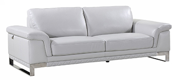 Global United 411 - Genuine Italian Leather Sofa in Light Gray color.