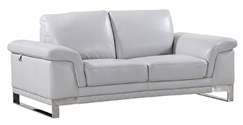 Global United 411 -  Genuine Italian Leather Loveseat in Light Gray color.