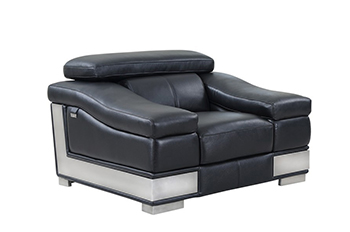 Global United 415 - Genuine Italian Leather Chair in Black color.