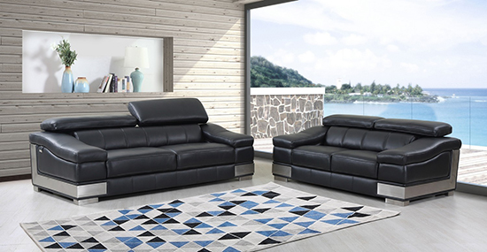 Global United 415 Genuine Italian Leather 2PC Sofa Set in Black color.