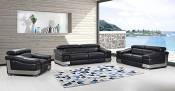 Global United Furniture 415 Genuine Italian Leather 3PC Sofa Set in Black color.