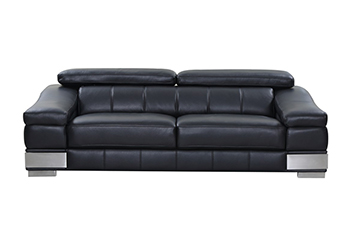 Global United 415 - Genuine Italian Leather Sofa in Black color.