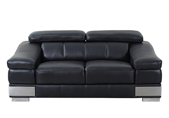 Global United 415 - Genuine Italian Leather Loveseat in Black color.