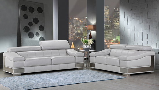 Global United Furniture 415 Genuine Italian Leather 2PC Sofa Set in Light Gray color.