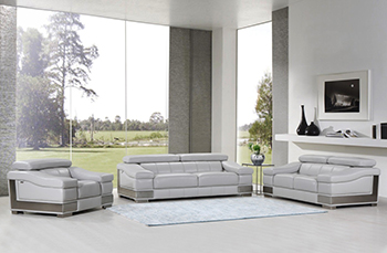 Global United Furniture 415 Genuine Italian Leather 3PC Sofa Set in Light Gray color.