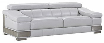 Global United 415 - Genuine Italian Leather Sofa in Light Gray color.