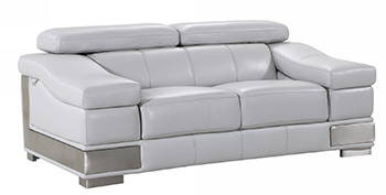 Global United 415 - Genuine Italian Leather Loveseat in Light Gray color.