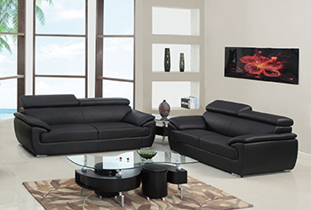 Global United Furniture 4571 Leather Match 2PC Sofa Set in Black color.