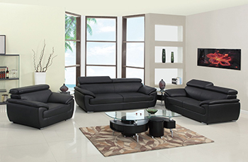 Global United Furniture 4571 Leather Match 3PC Sofa Set in Black color.
