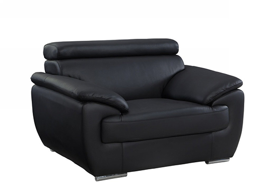Global United 4571 - Leather Match Chair in Black color.