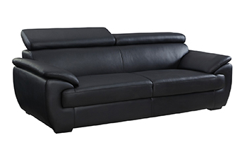 Global United 4571 - Leather Match Sofa in Black color.