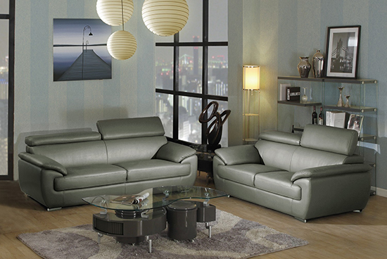 Global United Furniture 4571 Leather Match 2PC Sofa Set in Gray color.