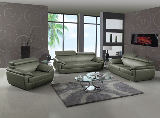 Global United Furniture 4571 Leather Match 3PC Sofa Set in Gray color.