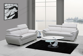 Global United Furniture 4571 Leather Match 2PC Sofa Set in White color.