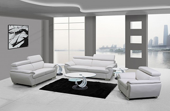 Global United Furniture 4571 Leather Match 3PC Sofa Set in White color.