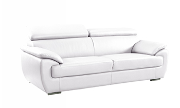 Global United 4571 - Leather Match Sofa in White color.