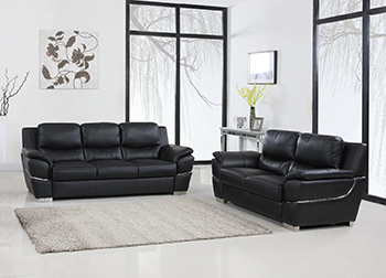 Global United Furniture 4572 Leather Match 2PC Sofa Set in Black color.