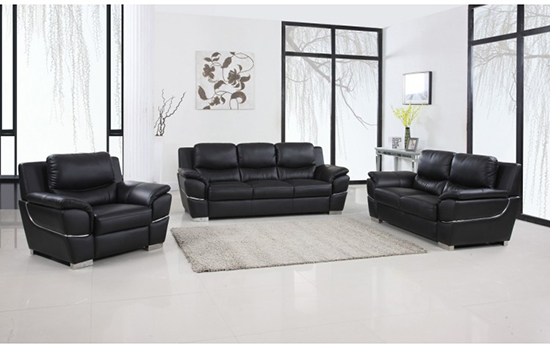 Global United Furniture 4572 Leather Match 3PC Sofa Set in Black color.