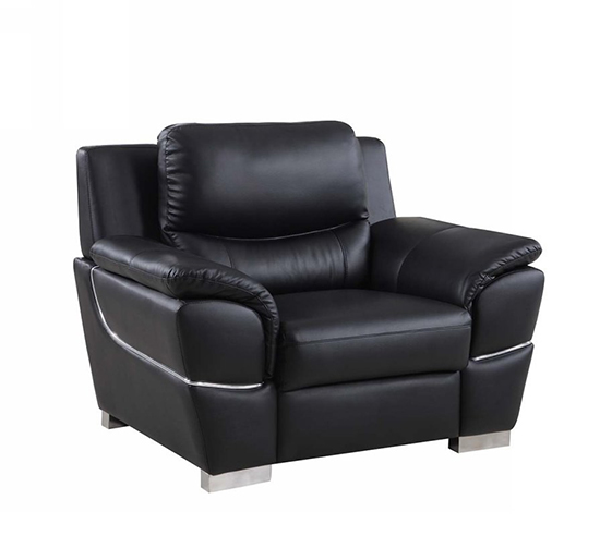 Global United 4572 - Leather Match Chair in Black color.