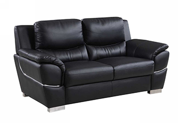 Global United 4572 - Leather Match Loveseat in Black color.