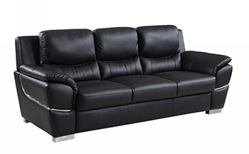 Global United 4572 - Leather Match Sofa in Black color.